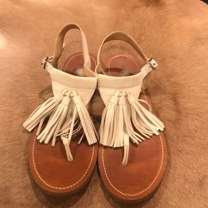 Lucky Brand Tassel Sandal Cream Size 7.5